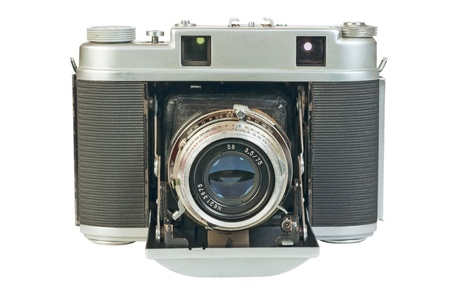 Old photo camera, a rangefinder with  accordion  folding lens  photo
