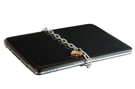 Laptop lock with chains isolated on the white background  Shooting at an angle photo