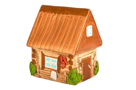 Miniature model country home (piggy bank), ceramic. Ukrainian ethnic motive.  photo