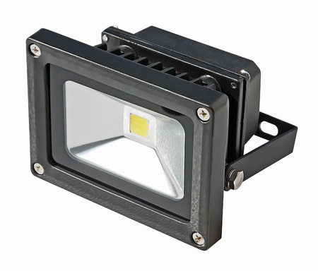 LED Energy Saving Floodlight  On a white background  photo