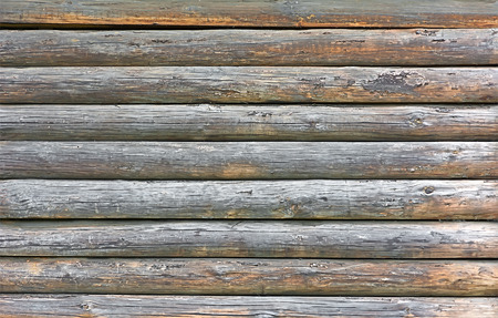 Fragment of the old wooden walls of pine logs. Texture of the old log walls.