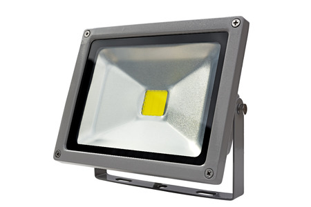 LED Energy Saving Floodlight gray. On a white background. Standard-Bild