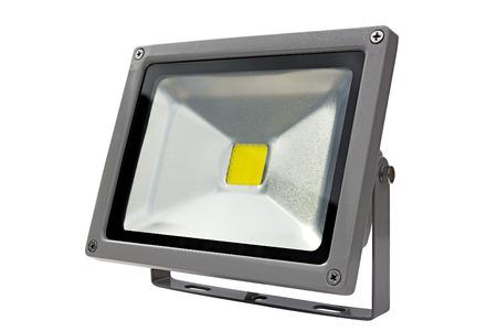 LED Energy Saving Floodlight gray. On a white background. photo