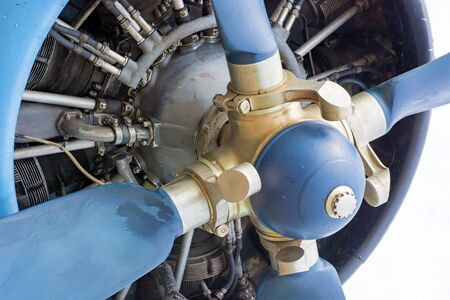 old plane: Fragment screws and motor old plane close-up. Stock Photo