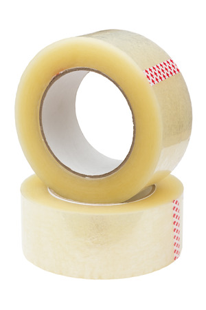 packing tape: Two rolls of adhesive tape. Stock Photo