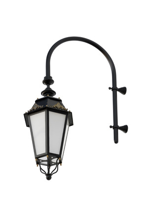 Vintage wall mounted street lamp black. Isolated on white background.