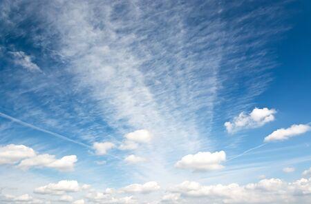 Cirrus and cumulus clouds in the blue sky morning. Zdjęcie Seryjne
