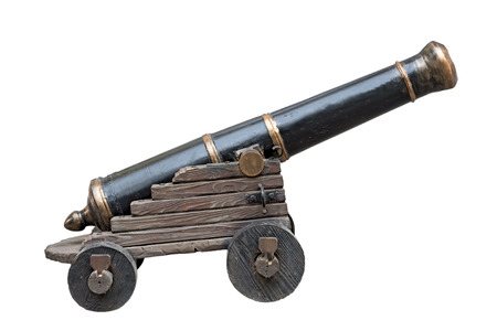 Imitation of old cannon isolated on white background. Clipping path is saved.