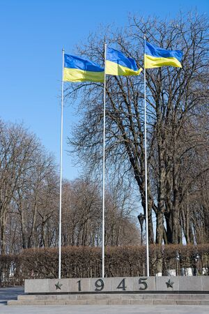 Three Ukrainian flag on flagpoles against the bright spring sky.