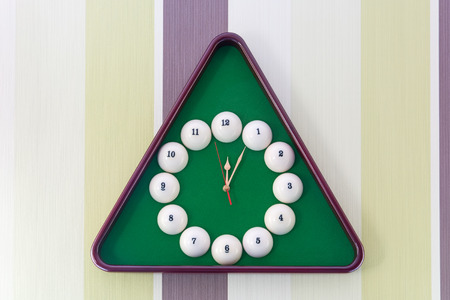 Beautiful wall clock in the style of billiards. Close-up.