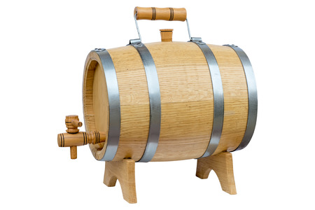 Wooden wine barrel with metal hoops and a handle on a stand. Isolated on white background.