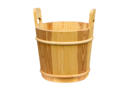 Empty wooden bucket for the sauna. Isolated on white background.