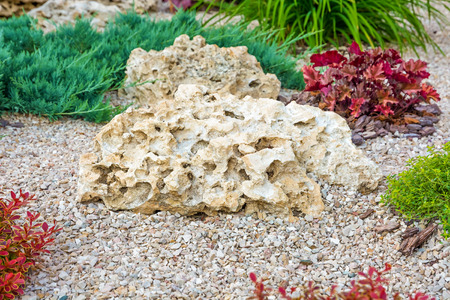 Flowerbed with stones and bushes as a decorative elements. Landscape design. Standard-Bild