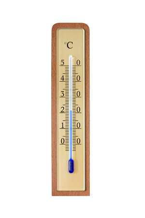 Wall thermometer on a wooden base. Isolated on white background. Standard-Bild