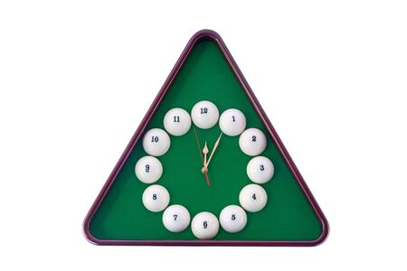 Beautiful wall clock in the style of billiards. Isolated on white background. Close-up.