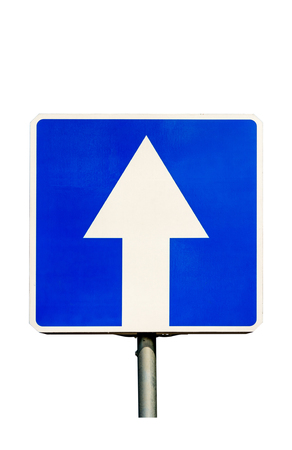 One-Way traffic road sign. Isolated on white background.