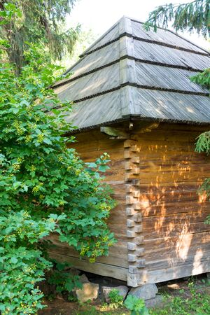 Corner of an old wooden house with lush greenery. Taken on a sunny summer day. Close-up. Zdjęcie Seryjne