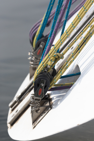 pastimes: Rigging on a yacht. Shallow depth of field Stock Photo