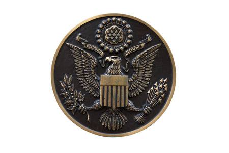 e pluribus unum: Bronze seal of the United States isolated on white background