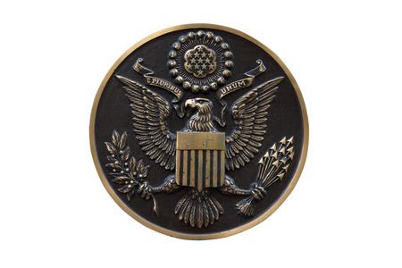 Bronzen zegel van de Verenigde Staten op een witte achtergrond Stockfoto