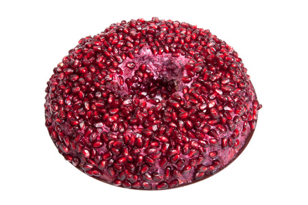 Salad with pomegranate seeds isolated on white background. Shallow depth of field photo