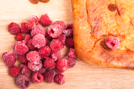 Cottage cheese casserole with raspberries photo