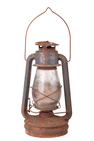 old dirty kerosene lamp isolated on white background photo