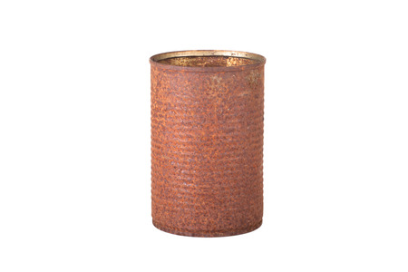old rusty tin can, isolated on white background photo