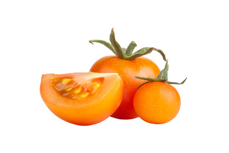 smal: one large, one smal  andl slice of tomato isolated on white background Stock Photo