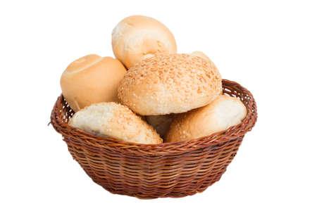 bread in a wicker basket isolated on white background Standard-Bild