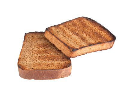 two piece black bread grilled isolated on white background photo