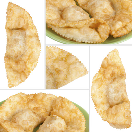 collage with cheburek stuffed isolated on white background photo