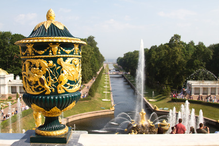 Grand cascade in Perterhof. The Peterhof palace included in the UNESCOs World Heritage List.