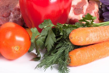 Cabbage, tomatoes, meat, potato, dill, parsley, basil photo