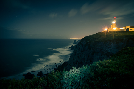 roca: The lighthouse at the westernmost point of Europe, at Cape Roca night (Cabo da Roca)
