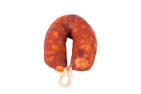 krakow sausage: smoked sausage isolated on white background Stock Photo