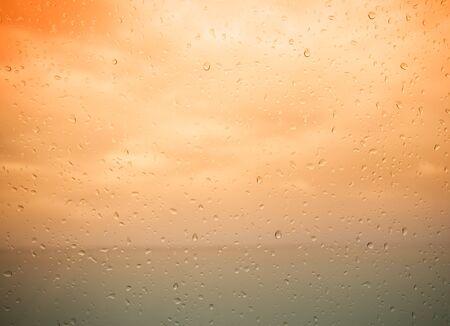 seaview: Seaview through the raindrops on window. Toned.
