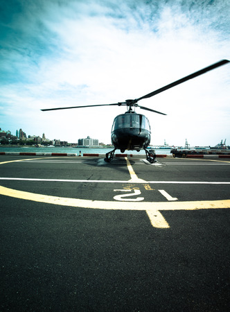 Helicopter ready for takeoff on Manhattan Stock Photo