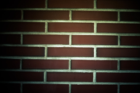 without window: New red brick wall without window. Background. Toned.