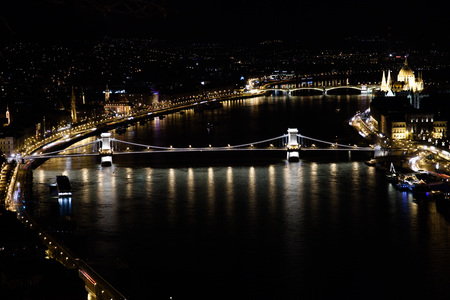 Budapest. Night view from Gillert hill to city and Danube river. photo