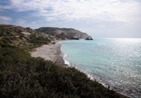 birthplace: Petra tou Romiou, Aphrodites birthplace. Paphos, Cyprus. Stock Photo