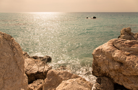tou: Petra tou Romiou, Aphrodites birthplace. Paphos, Cyprus. Stock Photo