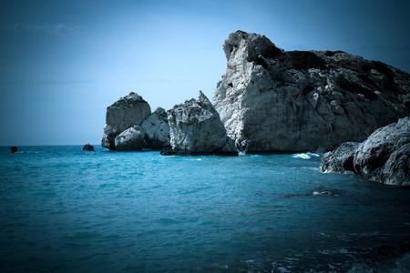 tou: Petra tou Romiou, Aphrodites birthplace. Paphos, Cyprus. Stock Photo