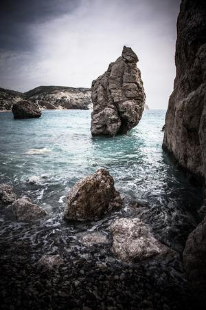 Pebbles Beach and Blue Sea. Dramatic photo