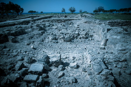 archaeological site: Stony area archaeological site on the Mediterranean coast. Toned. Stock Photo