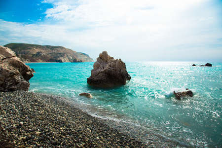 birthplace: Stone in the bay of the Mediterranean. Cyprus. Birthplace of Aphrodite. Toned. Stock Photo