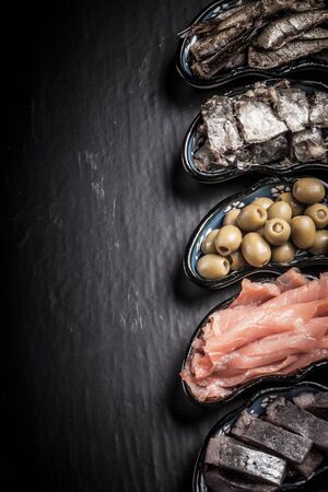 sardines: Fish assortment and olives on a plate on a dark background. With space for text Stock Photo