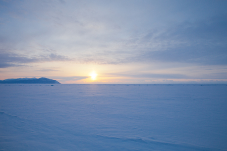 vast: Vast snowy wilderness. Lake Baikal in winter.
