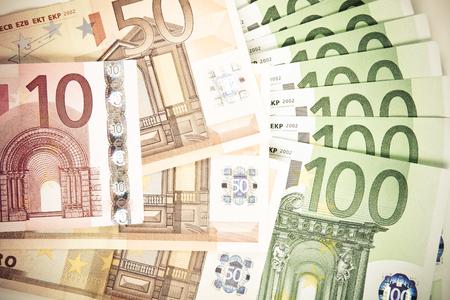 euro banknotes: Euro banknotes background. Toned.