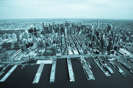 high rises: New York. Helicopter view of Manhattan. Toned. Stock Photo